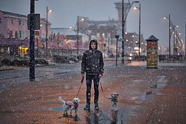 Kane on the seafront in the snow with Gizmo & Luna